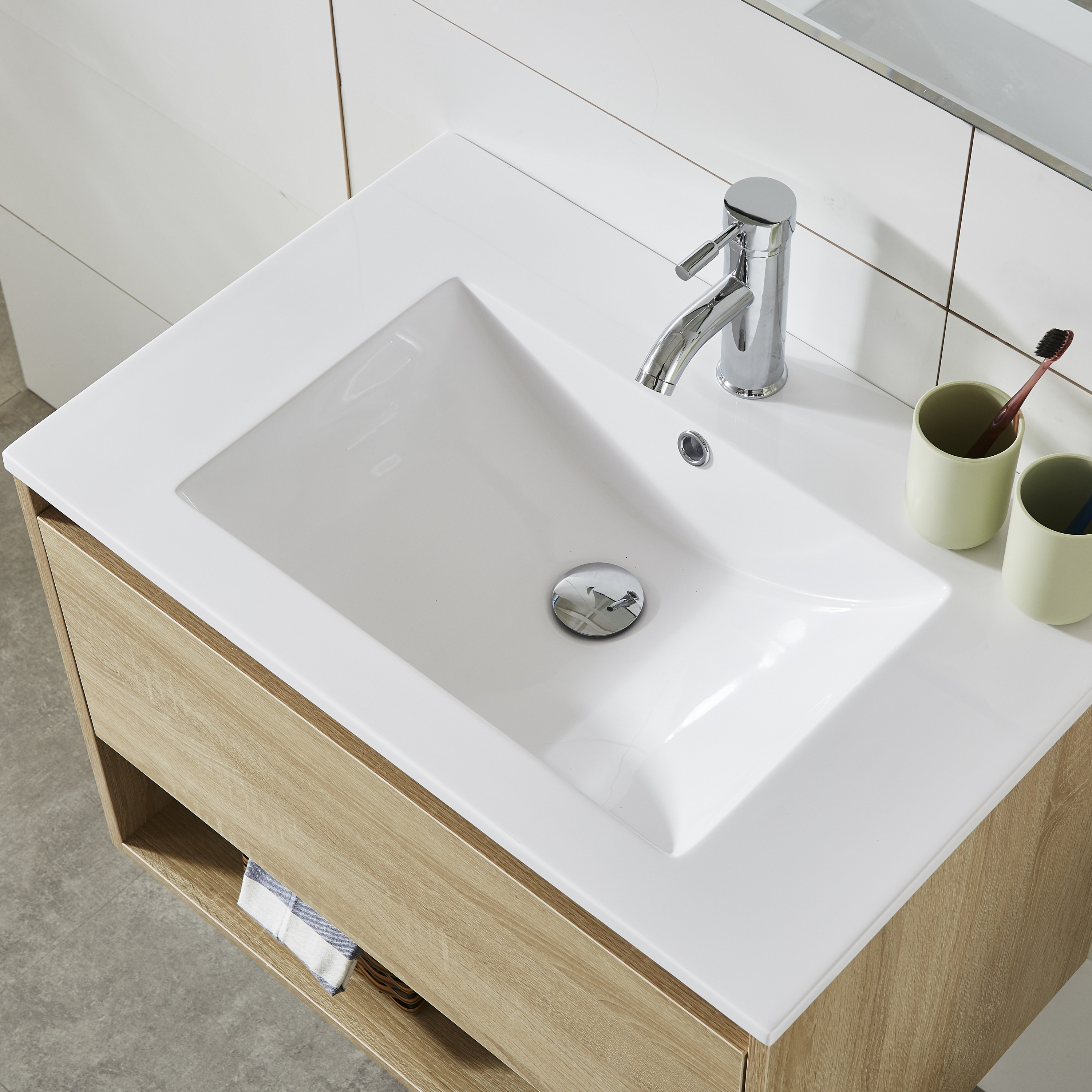 Simple Fasion MDF Melamine Modern Bathroom Basin Furniture Wall Cabinets with Mirror