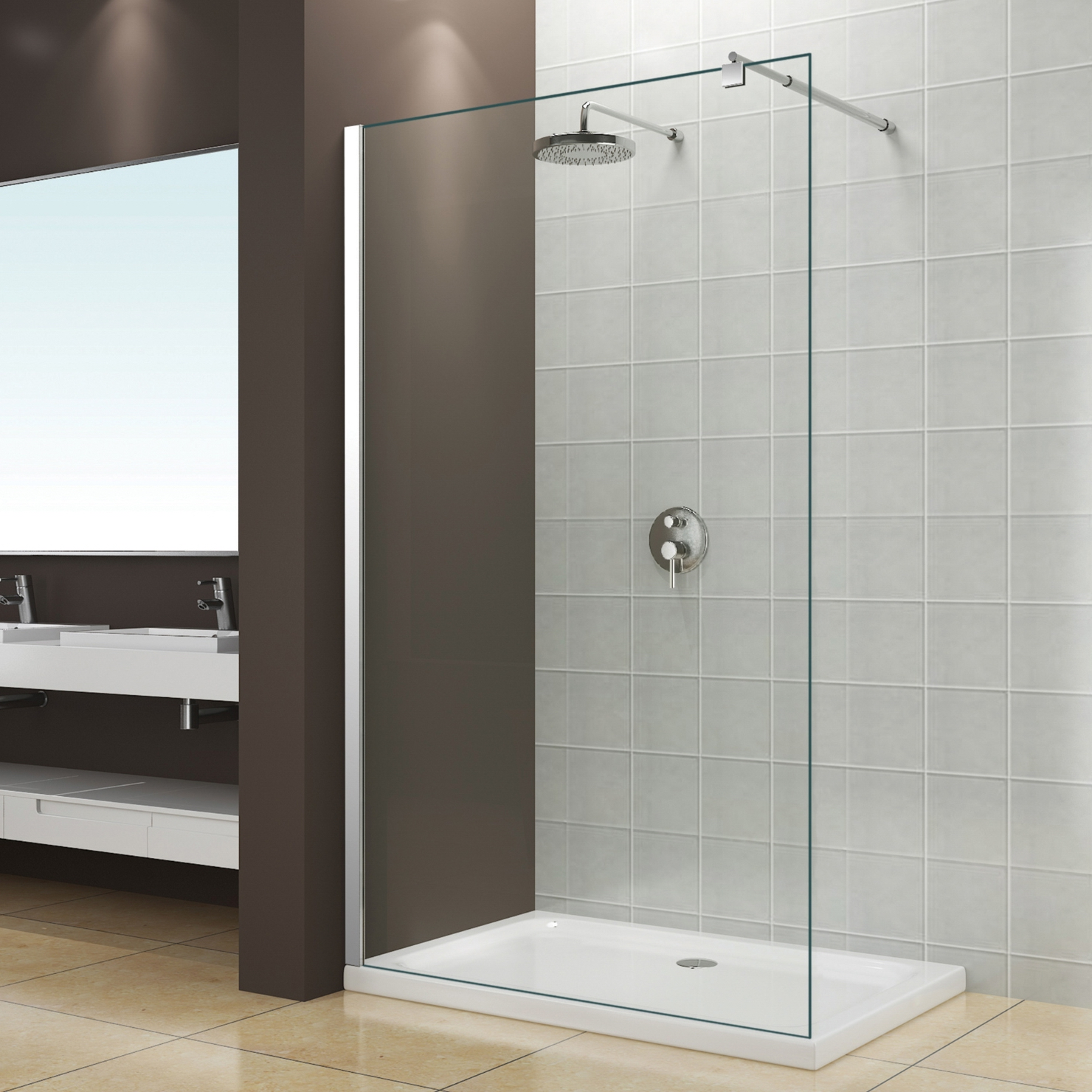 Single Piece Walk-in 6MM 8MM 10MM Tempered Glass Shower Door Shower Room