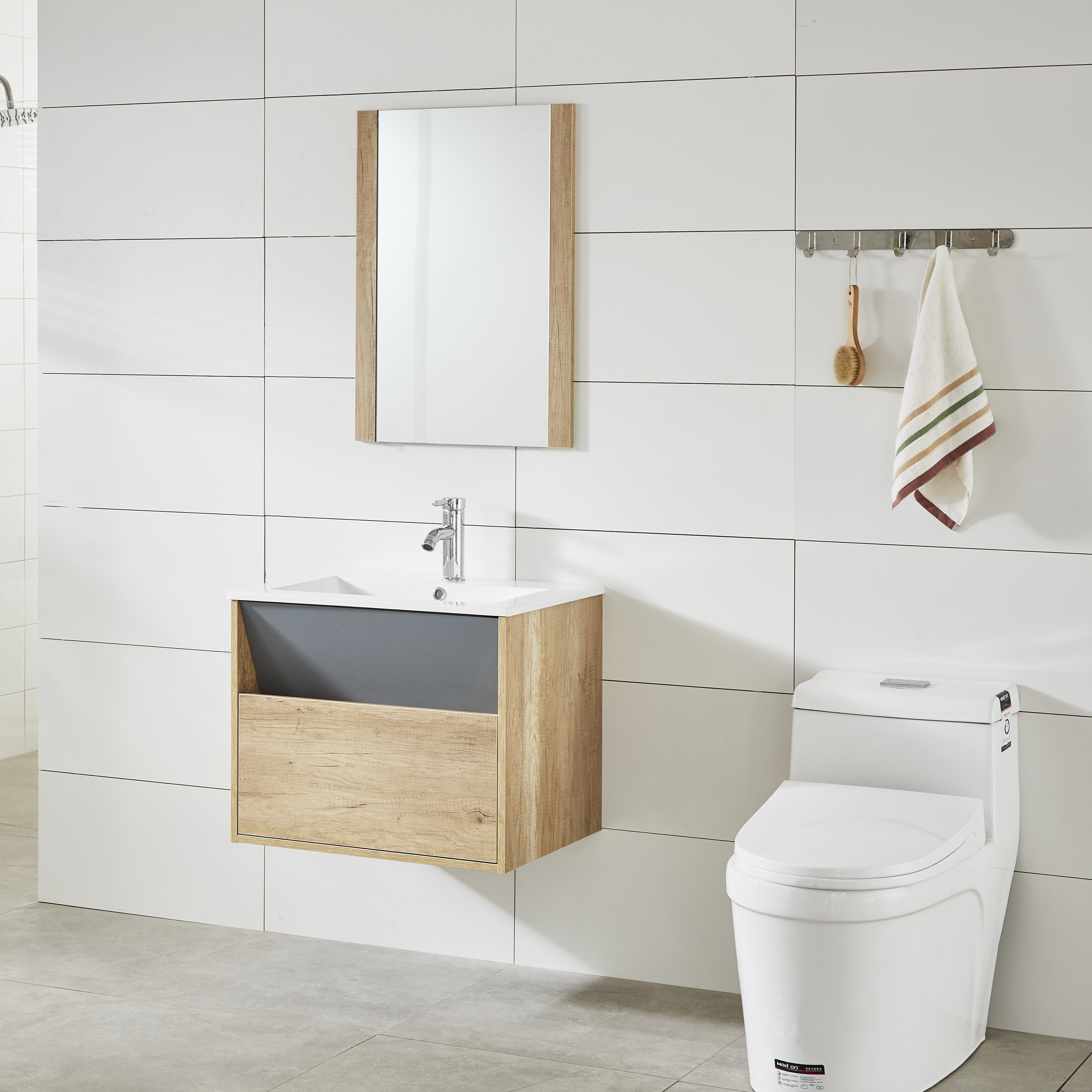 New Design Painting And Melamine Modern Bathroom Cabinet with Basin Vanity Set