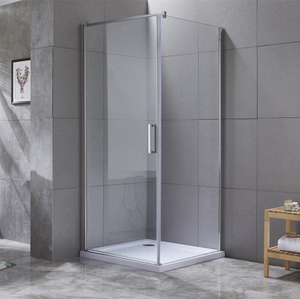 Bathroom Pivot Folding Glass Door Aluminum Shower Door Enclosure And Base Shower Tray