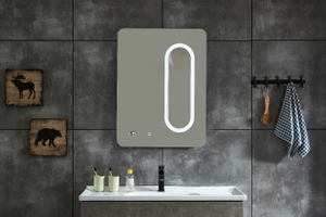 Vertical Line Copper-free Bathroom LED Mirror With Time Clock and Manifying(could move)