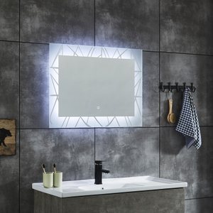 Simple Bathroom LED Mirror Defogger Pad Lights Vanity mirror Aluminum, powder coated steel, copper free silver mirror