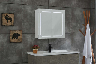 Vertical LED Mirror Cabinet Copper-free Bathroom Wall Mounted With Two Doors