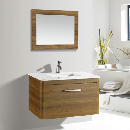 Wall Mounted Bathroom Cabinet Wood Color With One Drawer