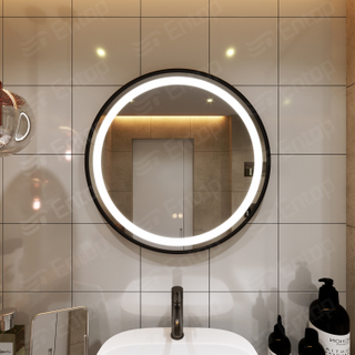 LED Mirror With Lights Round With Black Iron Frame
