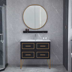 Dark Brown Wood Color Bathroom Cabinets Wall Mounted Vanity Golden Line Decoration