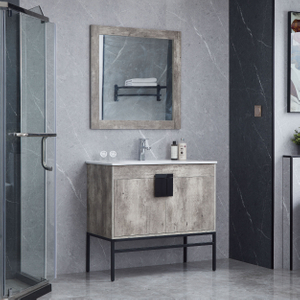 Smokey Grey Iron Legs Bathroom Cabinets Vanity