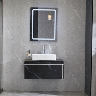 Bathroom Cabinets Wall Mounted Vanity With Black Sintered Stone Top
